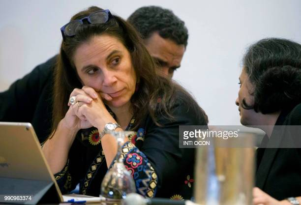 Chilean Antonia Urrejola member of the IACHR's Interdisciplinary Group of Independent Experts gestures during a press conference in Managua on July 3...