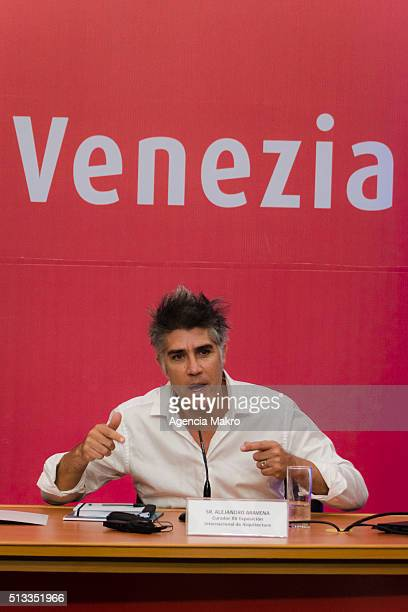 Chilean architect Alejandro Aravena Director of the Biennale di Venezia speaks during the presentation of the XV International Exhibition 'la...