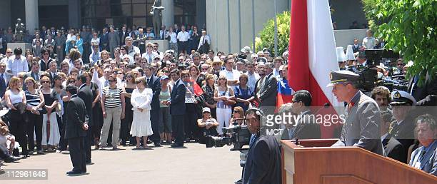 Chilean army chief Gen Oscar Izurieta Ferrer speaks at the funeral of former Chilean dictator Gen Augusto Pinochet held at a military academy in...