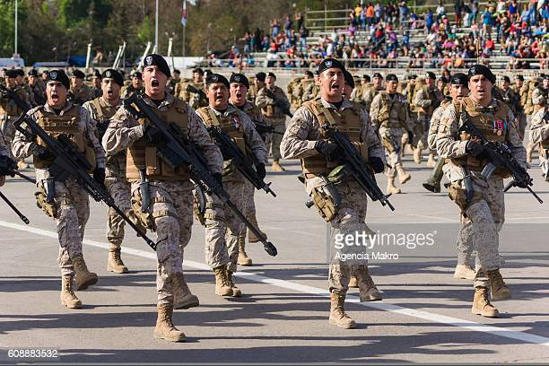 Chilean Army Special Forces soldiers perform during the Great Military Parade on Day of the Glories of the Chilean Army in the Ellipse O'Higgins Park...