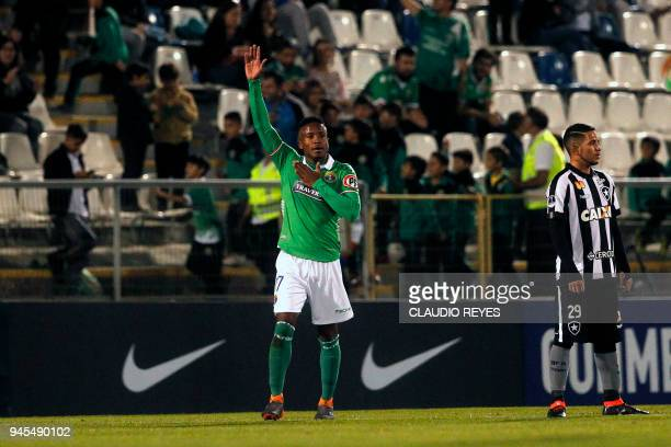 Chilean Audax Italiano Sergio Santos celebrates after scoring against Brazil's Botafogo during their Copa Sudamericana football match at the San...