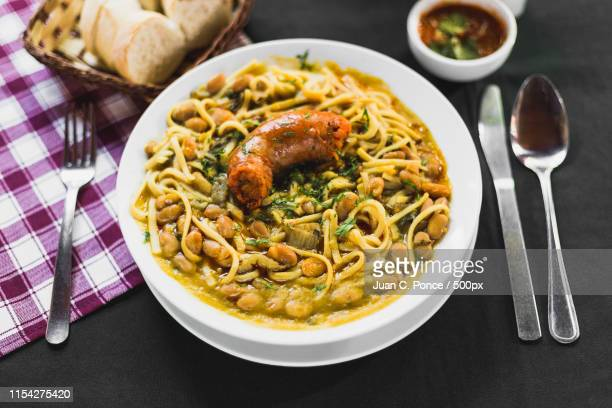 chilean beans with rustic sausage on a typical chilean table - 手綱 ストックフォトと画像