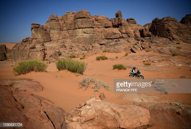 Chilean biker Pablo Quintanilla competes during stage 8 of the Dakar Rally 2021 between Sakaka and Neom, in Saudi Arabia, on January 11, 2021.