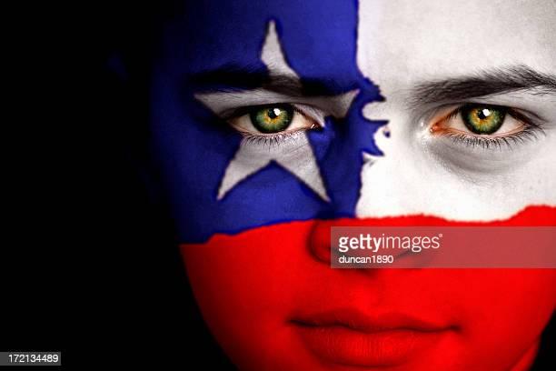chilian ragazzo - bandiera del cile foto e immagini stock