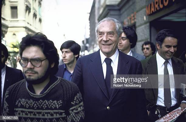 Chilean Christian Democratic Party Leader Gabriel Valdes smiling in Plaza de Armas