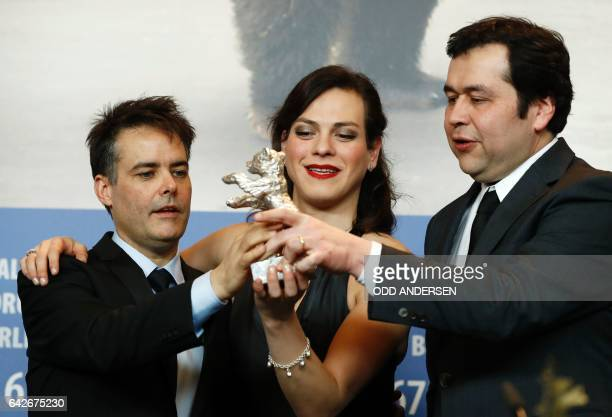 Chilean director Sebastian Lelio Colombian actress Daniela Vega and screenwriter Gonzalo Maza pose during a press conference after being awarded with...