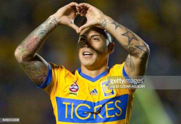 Chilean Eduardo Vargas of Tigres celebrates after scoring against Cruz Azul during the Mexican Clausura football tournament match at the...