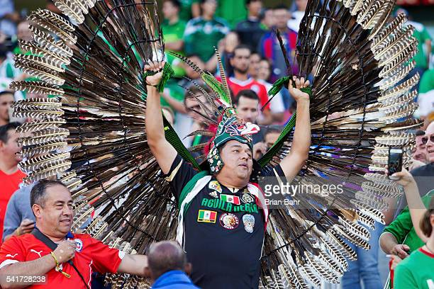 Chilean fan and a Mexican fan cheer before a Quarterfinal match between Mexico and Chile at Levi's Stadium as part of Copa America Centenario US 2016...