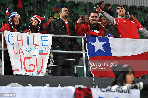 Chilean fans cheer for their team prior to the FIFA Friendly match between Chile and Serbia at Arena Saint Gallen stadium November 14 2012 in Saint...
