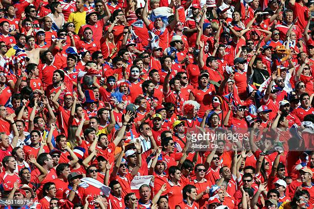 Chilean fans during the 2014 FIFA World Cup Brazil Group B match between the Netherlands and Chile at Arena de Sao Paulo on June 23 2014 in Sao Paulo...