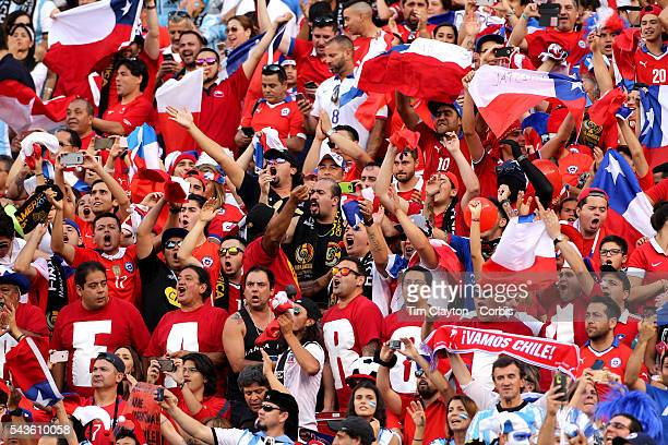 Chilean fans in the crowd during the Argentina Vs Chile Final match of the Copa America Centenario USA 2016 Tournament at MetLife Stadium on June 26...