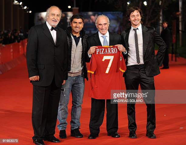 Chilean filmmaker Miguel Littin As Roma Chilean player Pizarro Chilean politician Sergio Bitar and actor Benjamin Vicuna arrive for the screening of...