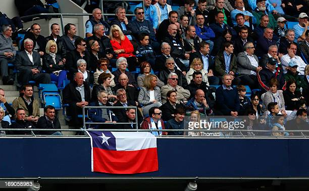 Chilean flag is displayed inside the ground during the Barclays Premier League match between Manchester City and Norwich City at the Etihad Stadium...