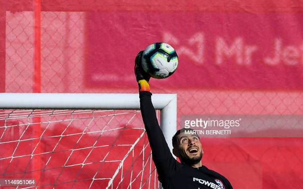 TOPSHOT Chilean football team's player Goalkeeper Gabriel Arias is pictured during a training session at Juan Pinto Duran sport complex in Santiago...