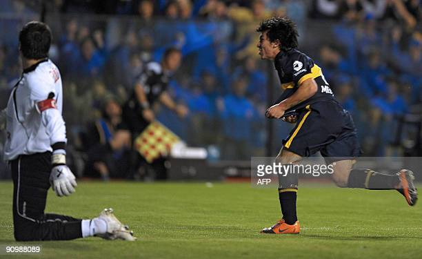 Chilean footballer Gary Medel of Boca Juniors celebrates the team's second goal against Godoy Cruz during their Argentina first division football...