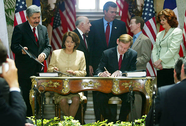 Us And Chile Sign Free Trade Agreement Pictures Getty Images