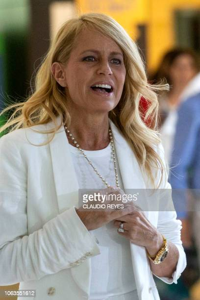 Chilean former Miss Universe and exwife of former Argentine president Carlos Menem Cecilia Bolocco is pictured after offering a press conference at...