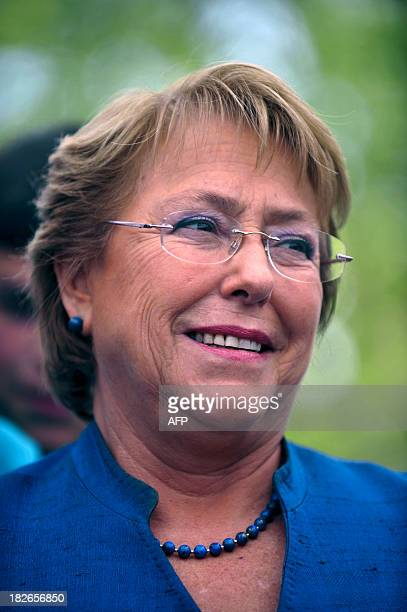 Chilean former president and now presidential candidate Michelle Bachelet gestures during the presentation of her cultural proposals for the November...