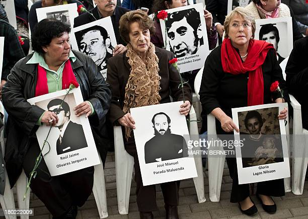 Chilean former president Michelle Bachelet her mother Angela Jeria and Lorena Pizarro president of the Association of relatives of...