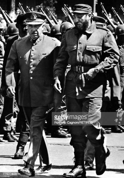 Chilean General Augusto Pinochet with Cuban premier Fidel Castro in Chile, 1972.