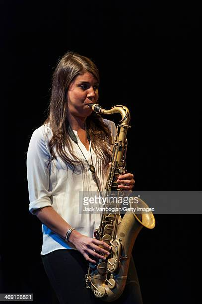 Chilean Jazz musician Melissa Aldana plays tenor saxophone as she leads her group, Crash Trio, during a 'Monk-in-Motion: The Next Face of Jazz...