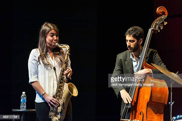 Chilean Jazz musician Melissa Aldana plays tenor saxophone as she leads her group, Crash Trio, with Pablo Milanes on upright acoustic bass, during a...