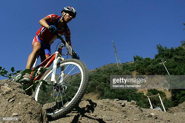 Chilean Luis Delgado during the cross country race at the PanAmerican Mountain Bike Championship in La Ermita Bike Park near Santiago on March 22...