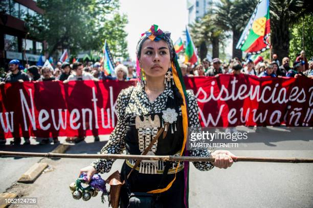 Chilean Mapuche demonstrates in support of the Mapuche resistance in Santiago on October 14 2018 Mapuches are Chile's largest indigenous group