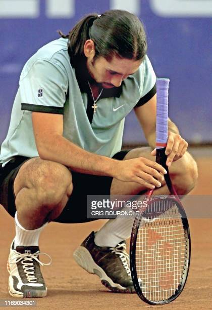 Chilean Marcelo Rios fell for a moment to concentrate during a match against Czech Bohdan Ulihrach in a tennis tournament in Santiago Chile 29...