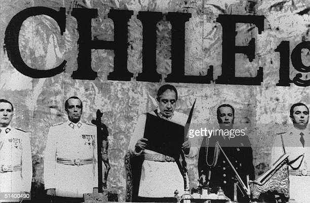Chilean military president, General Augusto Pinochet , reads the oath of office 11 March 1981 during his inauguration for eight more years in power...