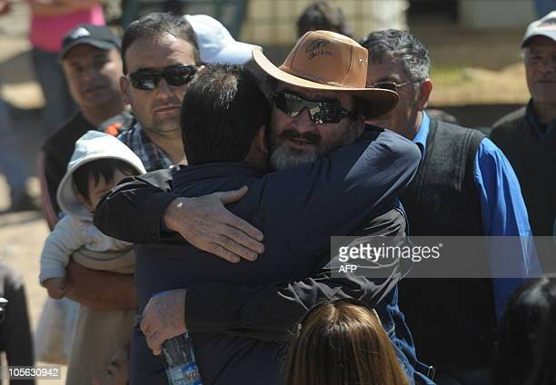 Chilean miner Jorge Galleguillos one of the 33 recently rescued from San Jose mine arrives at the San Jose mine for a mass near Copiapo 800 km north...