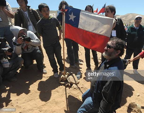 Chilean miner Jorge Galleguillos one of the 33 recently rescued from San Jose mine is seen at the San Jose mine for a mass near Copiapo 800 km north...