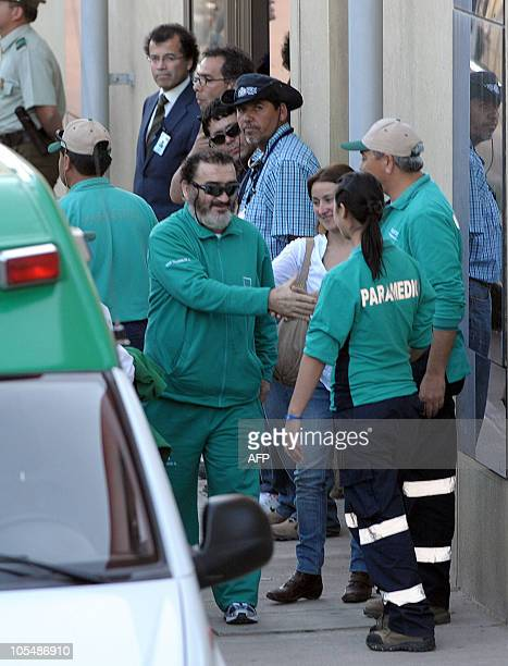 Chilean miner Jorge Galleguillos one of the 33 rescently rescued leaves the hospital in Copiapo Chile on October 15 2010 The miners have begun to...