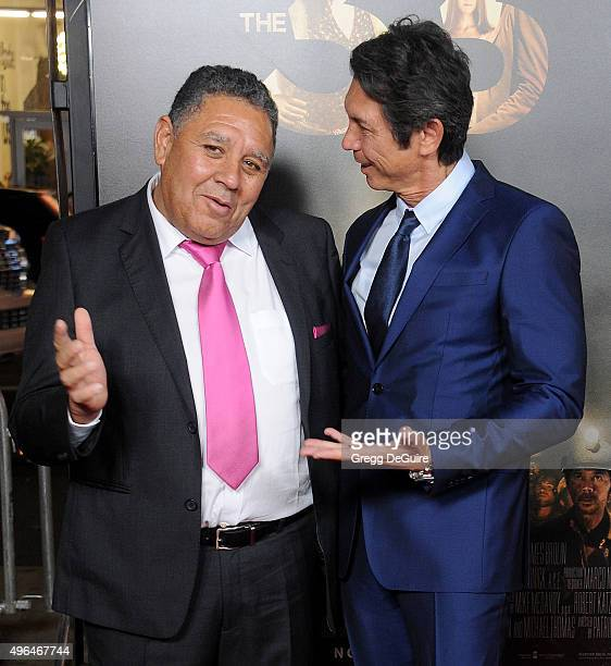 Chilean miner Luis Urzua and actor Lou Diamond Phillips arrive at the AFI FEST 2015 Presented By Audi Centerpiece Gala Premiere of 'The 33' at TCL...