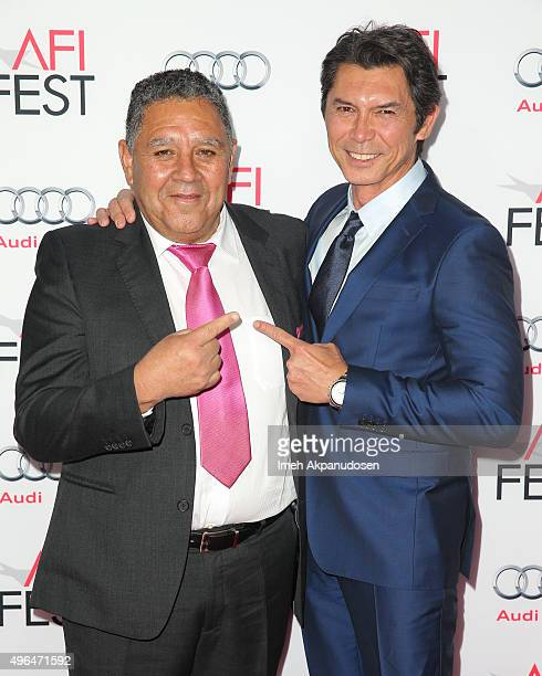 Chilean miner Luis Urzua and actor Lou Diamond Phillips attend the Centerpiece Gala premiere of Alcon Entertainment's 'The 33' at TCL Chinese Theatre...