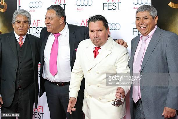 Chilean miners Mario Gomez Luis Urzua Edison 'Elvis' Pena and Juan Carlos Aguilar attend the Centerpiece Gala premiere of Alcon Entertainment's 'The...