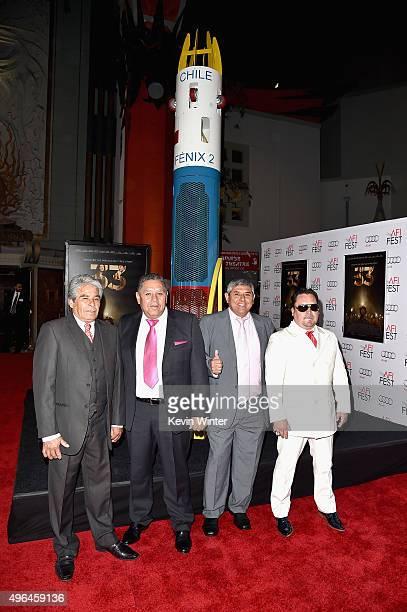 Chilean miners Mario Gomez Luis Urzua Juan Carlos Aguilar and Edison 'Elvis' Pena attend the Centerpiece Gala Premiere of Alcon Entertainment's 'The...