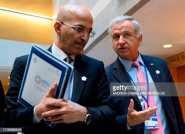 Chilean Minister of Finance Felipe Larrain Bascunan leaves a G20 meeting at the IMF in Washington DC on October 18 2019