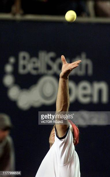 Chilean Nicolas Massu returns the ball to Argentinian Gasto Gaudio during the first match of the Open Tournament ATP in Vina del Mar Chile 11 Febuary...
