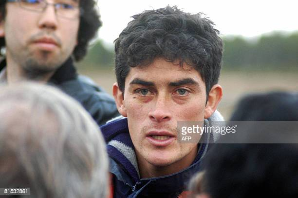 Chilean Omar Villegas one of the survivors of a light aircraft that crashed past June 9 in Aysen south of Chile arrives on June 11 2008 to Puerto...