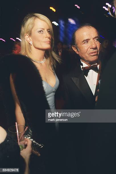 Chilean personality Cecilia Bolocco with former Argentinian President Carlos Menem at the Black Tie and Boots Innaugural Ball in Washington DC