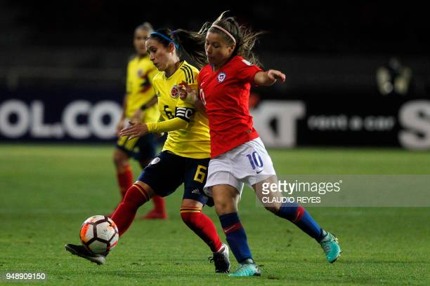 Chilean player Yanara Aedo vies for the ball with Colombia's player Daniela Montoya during the women's Copa America football match at La Portada...