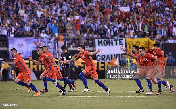 Chilean players celebrate after defeating Argentina and winning the Copa America Centenario final in East Rutherford New Jersey United States on June...