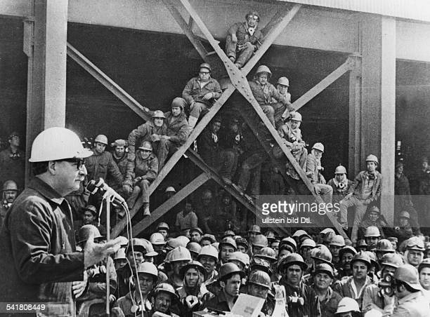 SALVADOR ALLENDE Chilean politician and president Allende giving a speech before a group of miners 18 May 1973