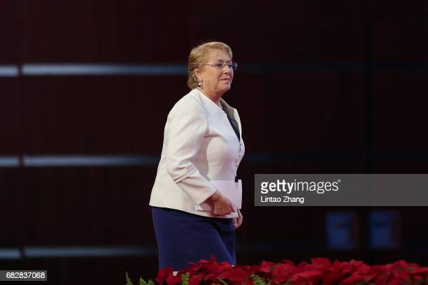 Chilean President Michelle Bachelet attends the Belt and Road Forum for International Cooperation on May 14 2017 in Beijing China