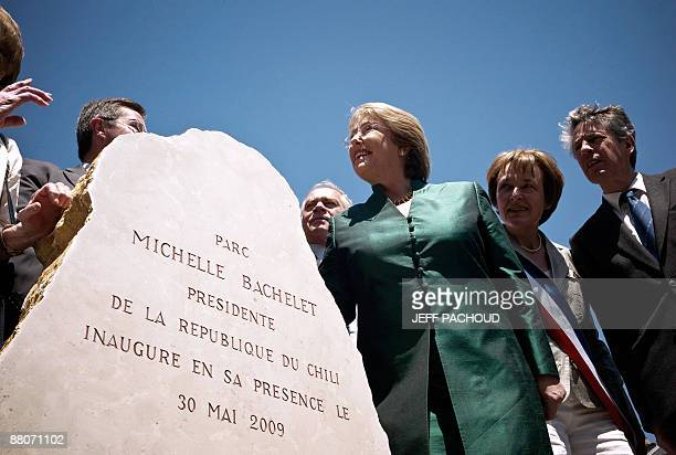 Chilean president Michelle Bachelet attends the inauguration of a park named after Bachelet on May 30, 2009 Chassagne-Montrachet in the Burgundy...