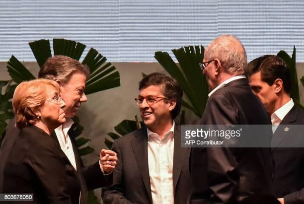 Chilean President Michelle Bachelet, Colombian President Juan Manuel Santos, Inter-American Development Bank President Luis Alberto Moreno, Peruvian...