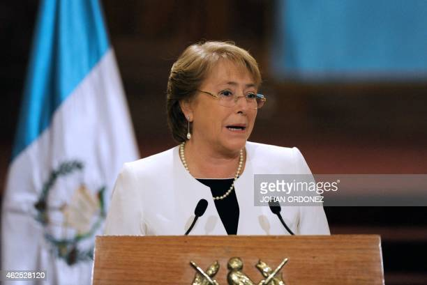 Chilean President Michelle Bachelet delivers a joint press conference with Guatemalan President Otto Perez Molina at the Culture Palace in Guatemala...