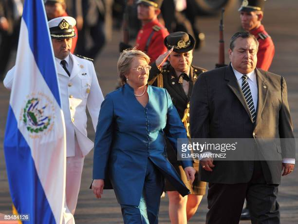 Chilean President Michelle Bachelet is greeted by El Salvador's Vice Foreign Minister Luis Montes upon her arrival to El Salvador's airport in...