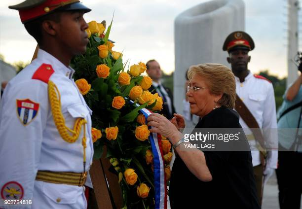 Chilean President Michelle Bachelet is pictured during a wreathlaying ceremony at Revolution Square in Havana on January 8 2018 Bachelet is in Cuba...